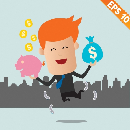 wealthy man: Cartoon Businessman with financial money - Vector illustration