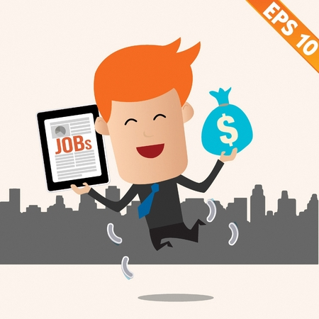 steward: Cartoon Businessman with financial money - Vector illustration