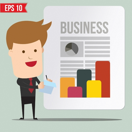 Business man  writing a note - Vector illustration Vector