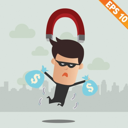 Thief steal money - Vector illustration  Stock Vector - 22541600