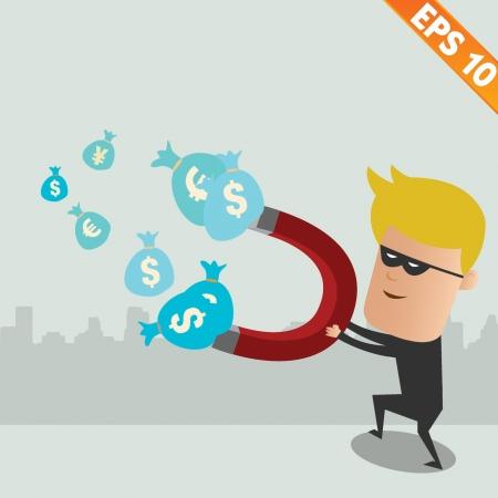 intruder: Thief steal money - Vector illustration