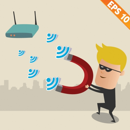 Hacker on  wireless network - Vector illustration Vector