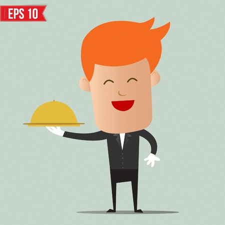 Waiter food service - Vector illustration Vector