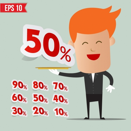 Waiter serving sale label tag - Vector illustration  Vector