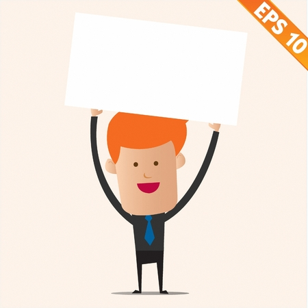 Cartoon business man with white board - Vector illustration Stock Vector - 22549155