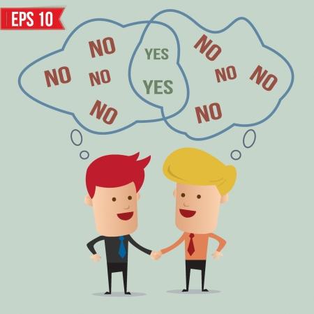 negotiations: Sacudida de la mano del hombre de negocios - ilustraci�n vectorial