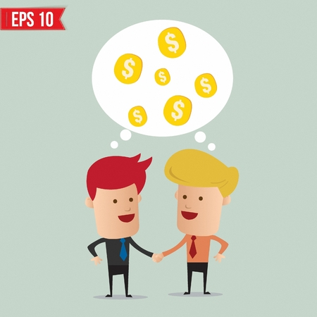 business people shaking hands: Business man hand shake  - Vector illustration