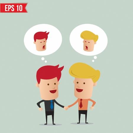 negotiating: Business man hand shake  - Vector illustration Illustration
