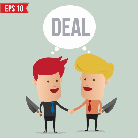 disagree: Business man hand shake  - Vector illustration Illustration