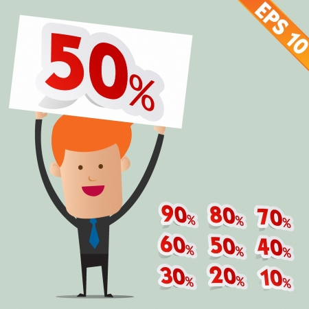 offer icon: Business man show Sale percent sticker tag  - Vector illustration