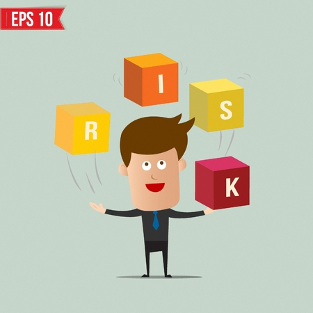 Business man throw business box stacking - Vector illustration - EPS10 Vector