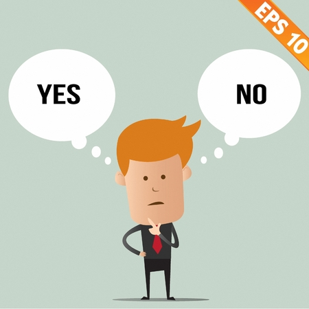 Business man thinking of choice - Vector illustration