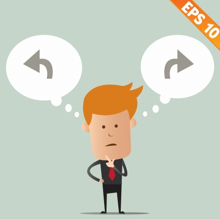 Business man thinking of choice - Vector illustration  Vector