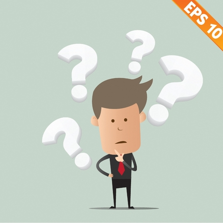 man confused: Business man thinking of choice - Vector illustration