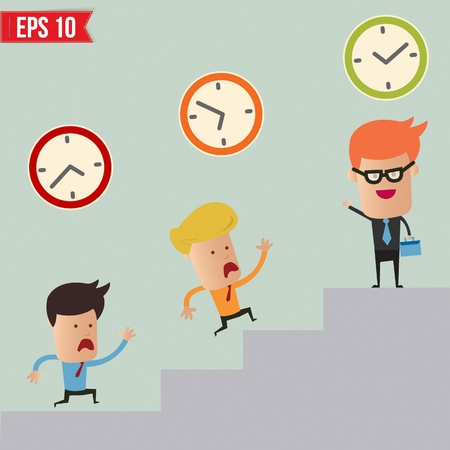 Business man and time management concept  - Vector illustration Vector