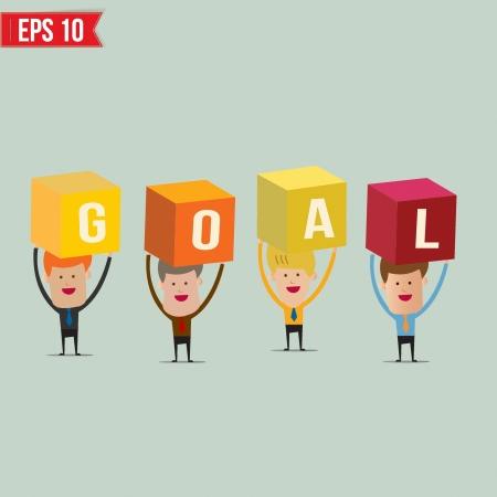 Business man showing GOAL box  - Vector illustration - EPS10  Vector