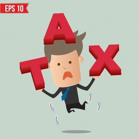 refund: Business man showing TAX  - Vector illustration