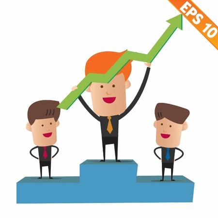 winning stock: Cartoon business man on winner podium - Vector illustration