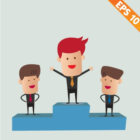 Cartoon business man on winner podium - Vector illustration - EPS10  Stock Vector - 22549286