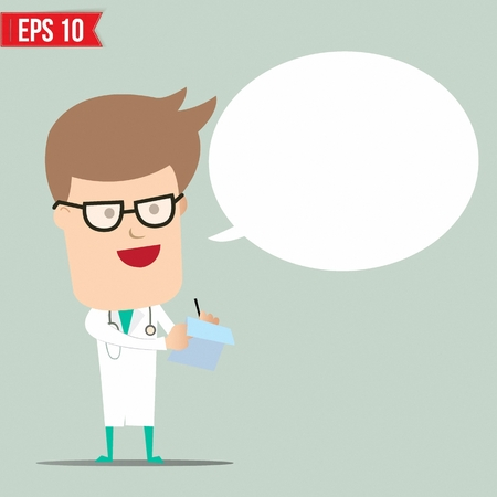Doctor writing a report - Vector illustration Vector