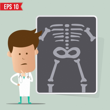 health professionals: Doctor show a report - Vector illustration   Illustration