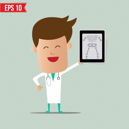 man using computer: Doctor show a report - Vector illustration