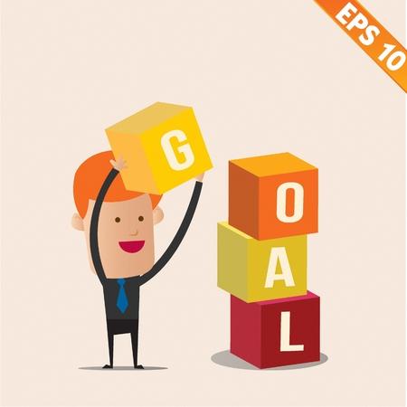stacking: Cartoon Businessman stacking goal box - Vector illustration