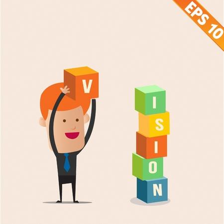 construction management: Cartoon Businessman stacking box - Vector illustration