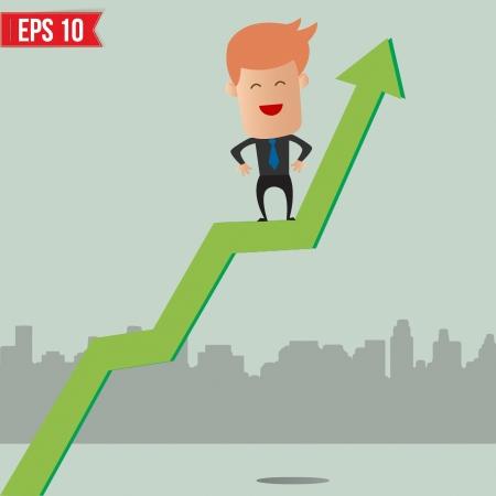 Cartoon Businessman hanging on graph - Vector illustration Vector