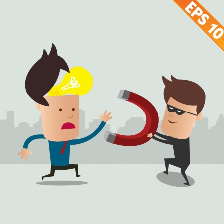 steal brain: Thief steal idea - Vector illustration