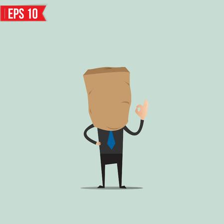 Caricatura del hombre de negocios con bolsa de papel - ilustración vectorial - EPS10 Ilustración de vector