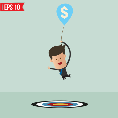 Cartoon Businessman flying away by using money balloon - Vector illustration - EPS10 Stock Vector - 23312189