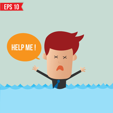 Cartoon business man shouting for help - Vector illustration - EPS10 Stock Vector - 23312213