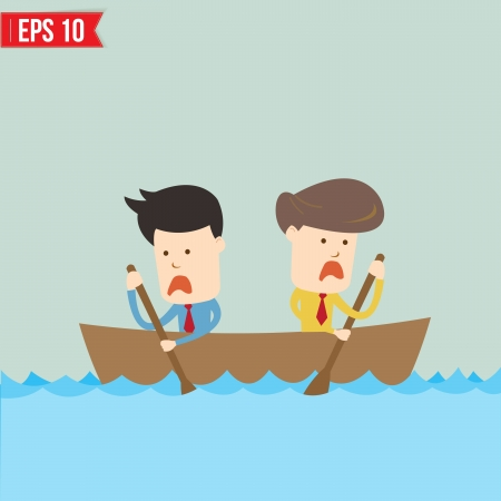 Cartoon business man  rowing a boat - Vector illustration - EPS10  Illustration