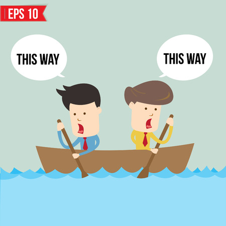 Cartoon business man  rowing a boat - Vector illustration - EPS10  Çizim