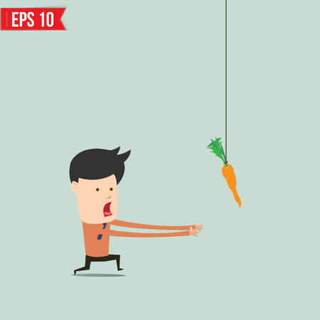 dangling: Cartoon Business man trying to reach a carrot  - Vector illustration - EPS10  Illustration