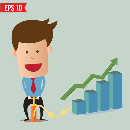 pumping: Cartoon Business man pumping graph - Vector illustration - EPS10