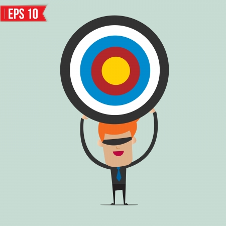 taget: Cartoon business man with the target  - Vector illustration - EPS10