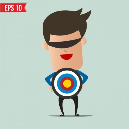 taget: Business man holding target - Vector illustration - EPS10