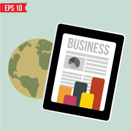 business news: Business news on mobile device   - Vector illustration - EPS10