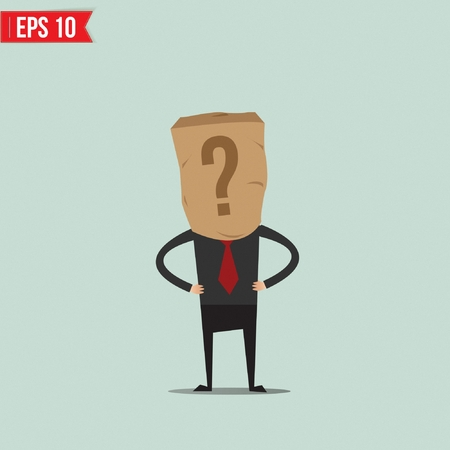 Cartoon Business man with paper bag - Vector illustration Vector