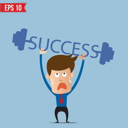 business man vector: Business man lifting success barbell - Vector illustration