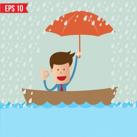 cartoon safety: Business cartoon holding umbrella on boat for safety concept - Vector illustration