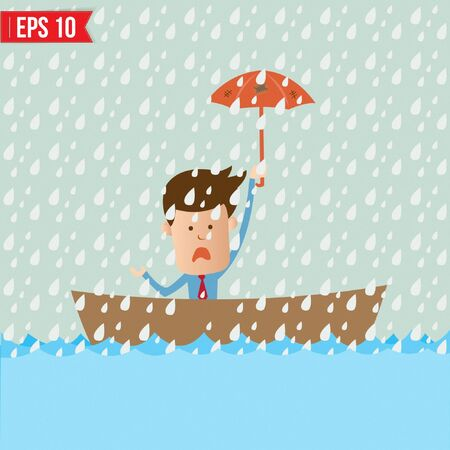 Business cartoon holding umbrella on boat for safety concept - Vector illustration Vector