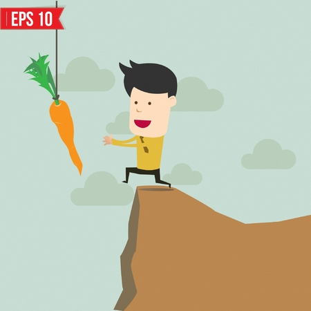 metaphoric: Cartoon Business man trying to reach a carrot  - Vector illustration Illustration