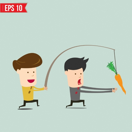 dangling: Cartoon Business man trying to reach a carrot  - Vector illustration Illustration