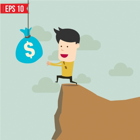 metaphoric: Cartoon Business man trying to reach money  - Vector illustration Illustration