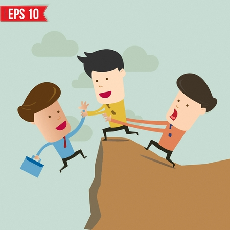 cliff edge: Cartoon Business man helping another over the cliff - Vector illustration