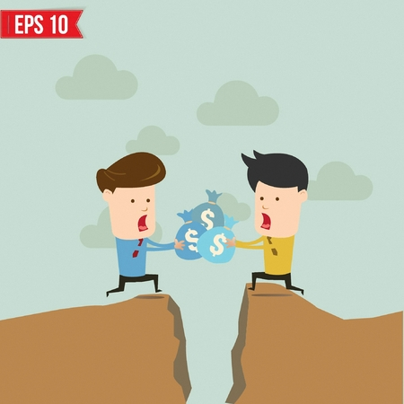 fiscal cliff: Cartoon Business man helping another over the cliff - Vector illustration