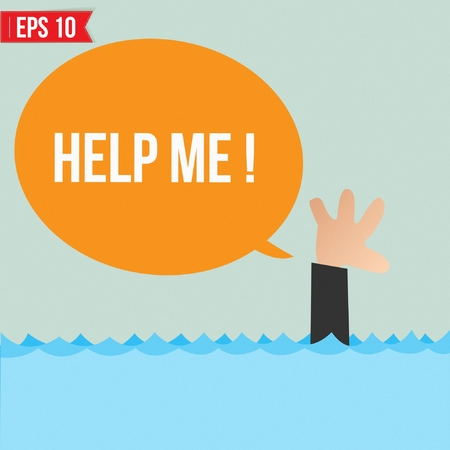 Cartoon business man shouting for help - Vector illustration Vector